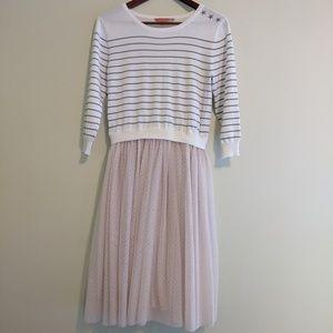 ✨Modcloth sweater dress striped 3/4 sleeve sheer l